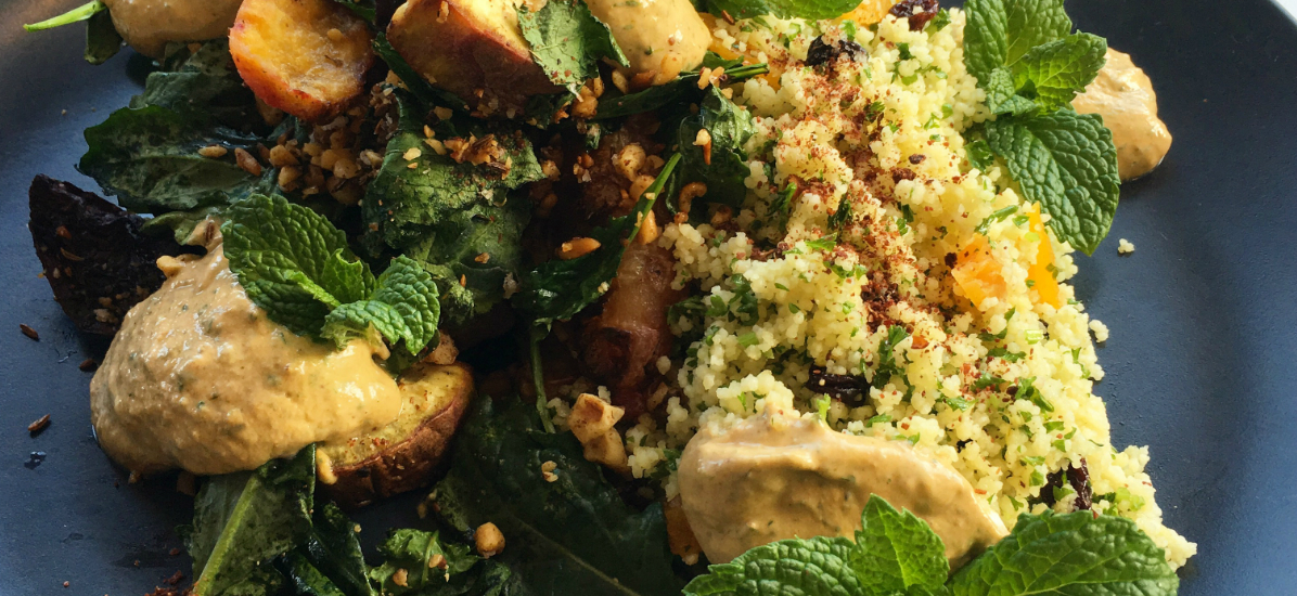 Roast vegetables with Moroccan couscous and harissa yoghurt