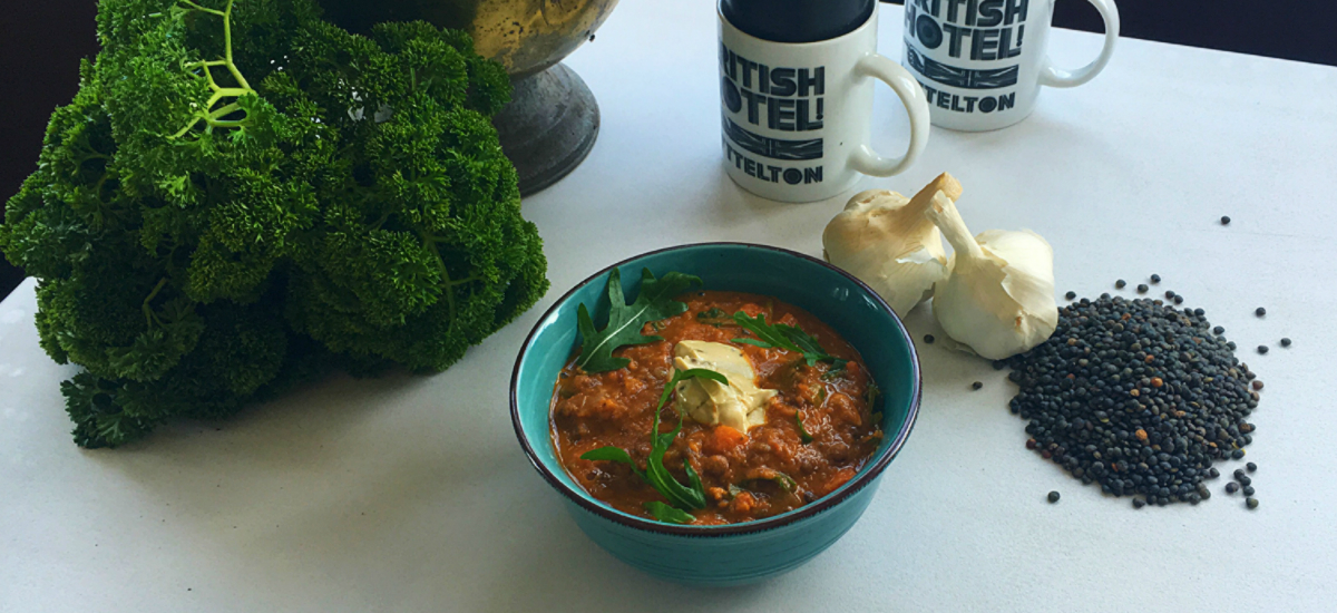 Indian lentil soup with zesty yoghurt and Bellbird bread