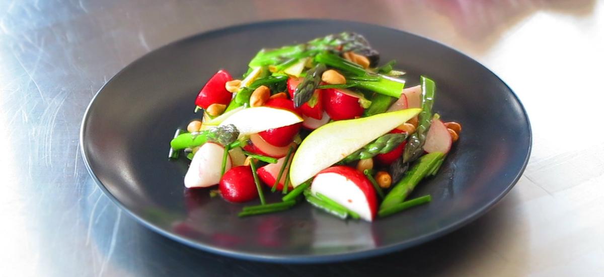 Asparagus, pear and peanut salad with crispy Szechuan tofu