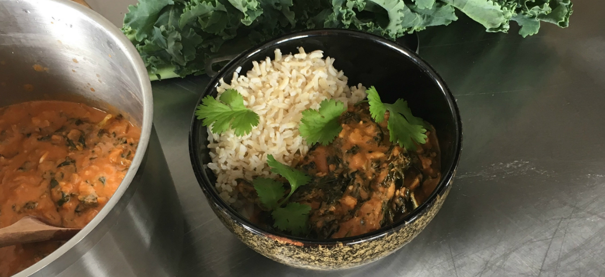 West African peanut with organic silverbeet soup and brown rice