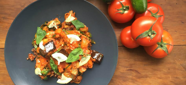Roast ratatouille with preserved lemon and organic quinoa