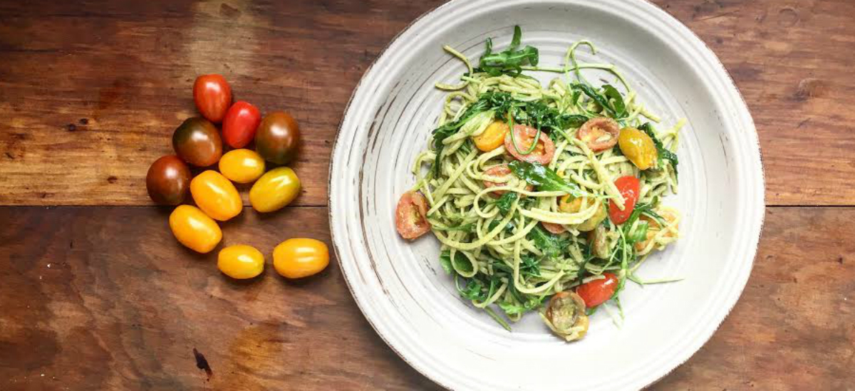 Rocket Black Doris pesto with courgette and cherry tomato fettuccine and Parmesan