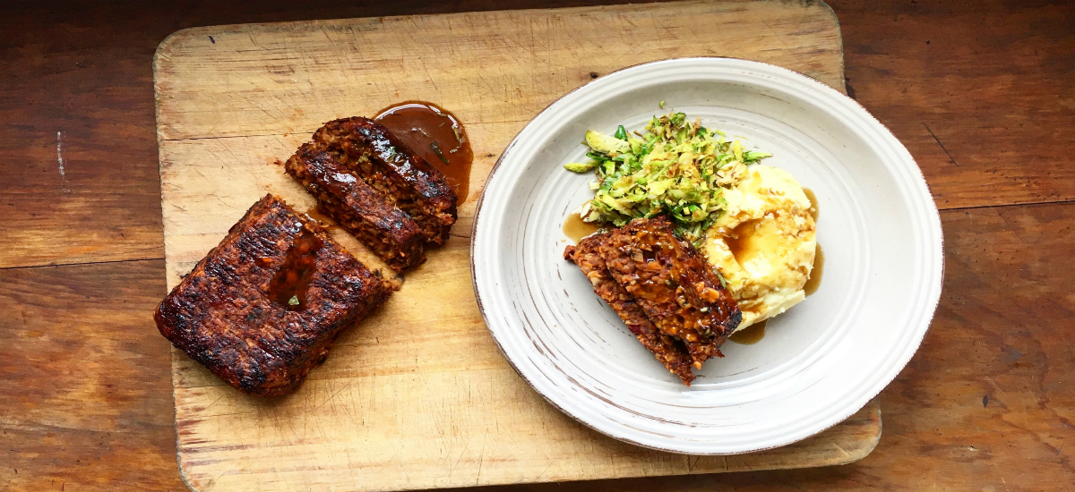 BBQ mushroom and bean loaf with mash, gravy and Brussels sprouts