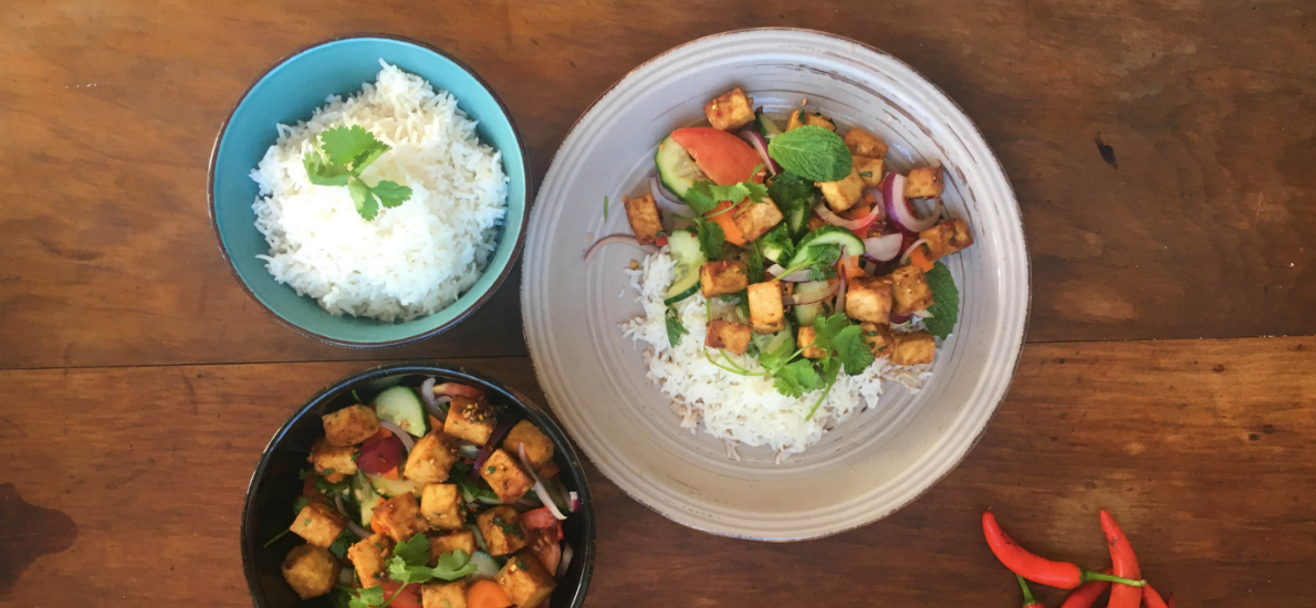 Thai tofu salad with chili lime dressing and jasmine rice