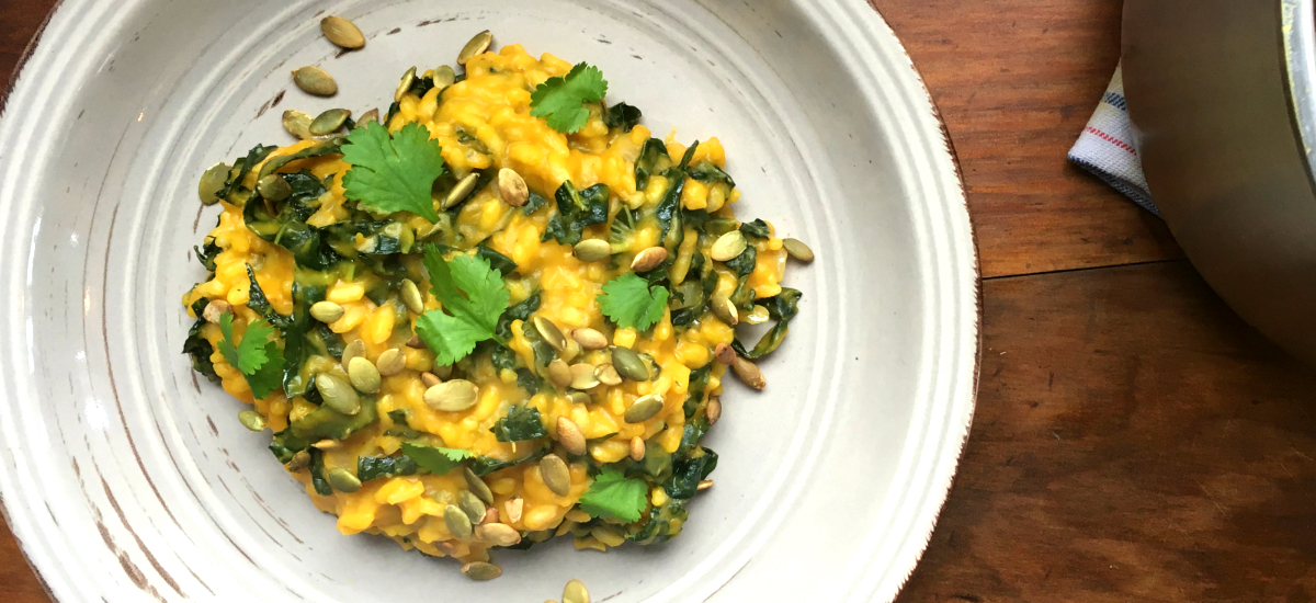 Roast pumpkin and black kale risotto with maple glazed pumpkin seeds