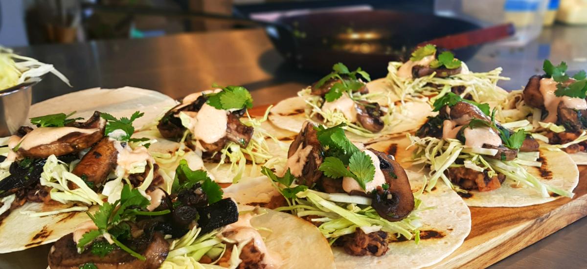 Black bean and garlic mushroom tacos with chipotle yoghurt