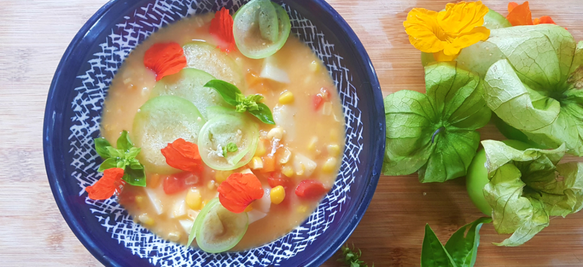 Creamy sweet corn chowder with roast tomato verde
