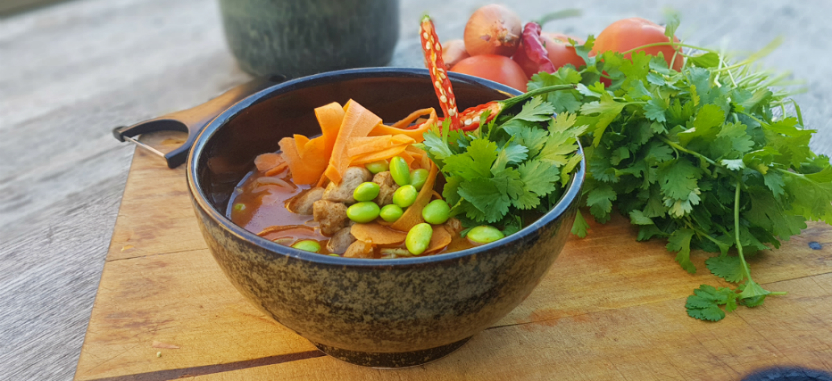 Tom Yum Soup served with kaffir lime, turnip, buckwheat noodles and mushrooms