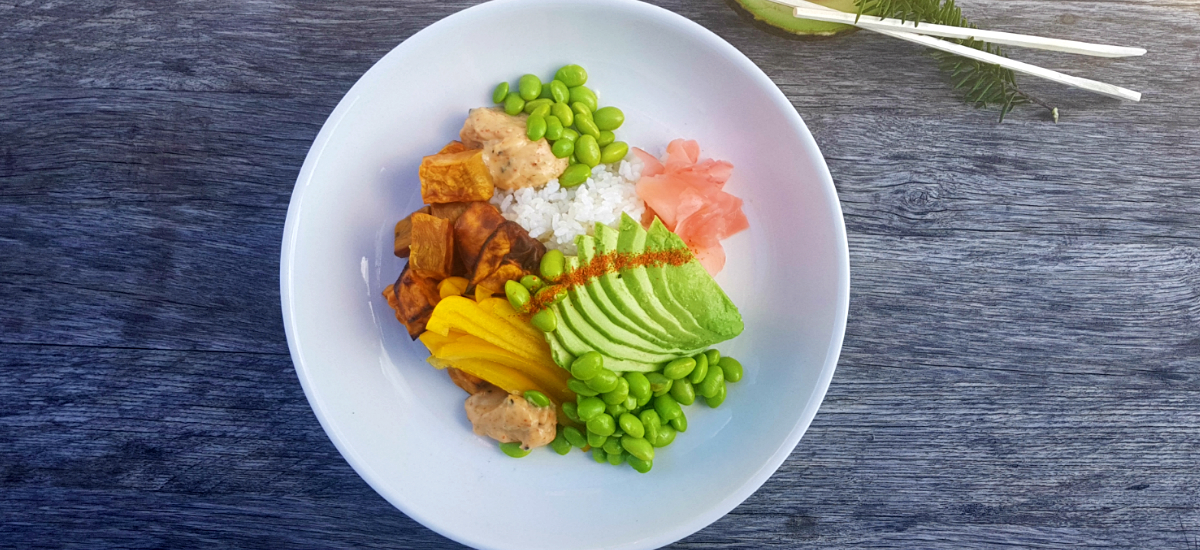 Kumara and avocado sushi bowl with edamame and tōgarashi mayo`