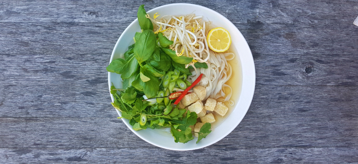 Pho with crispy tofu, Thai basil, coriander and bean sprouts