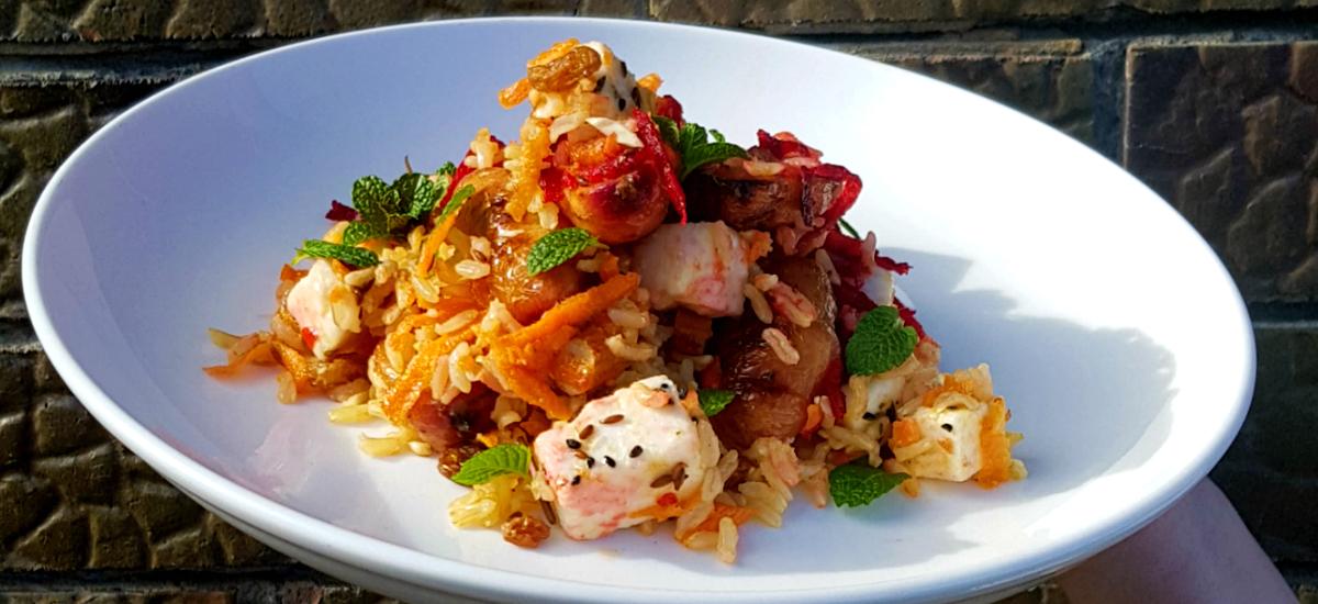 Brown rice, kumara, almond and marinated feta salad