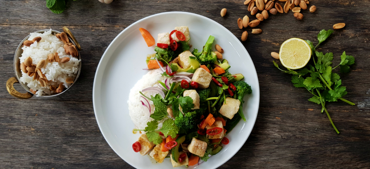 Thai tofu salad with chili lime dressing, peanuts, a heap of herbs and jasmine rice