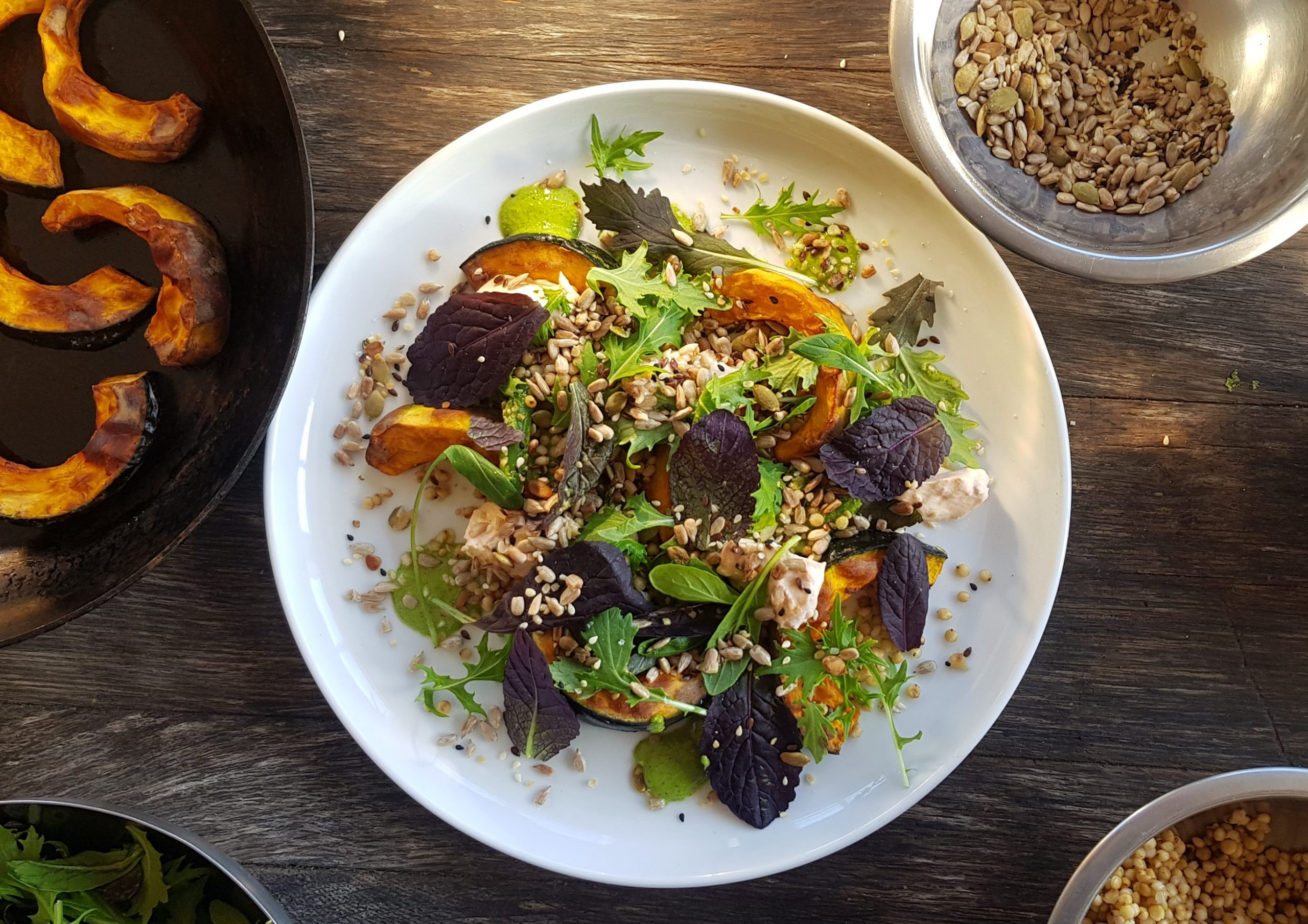 Roast buttercup salad with chili yoghurt, coriander puree, green beans and quinoa