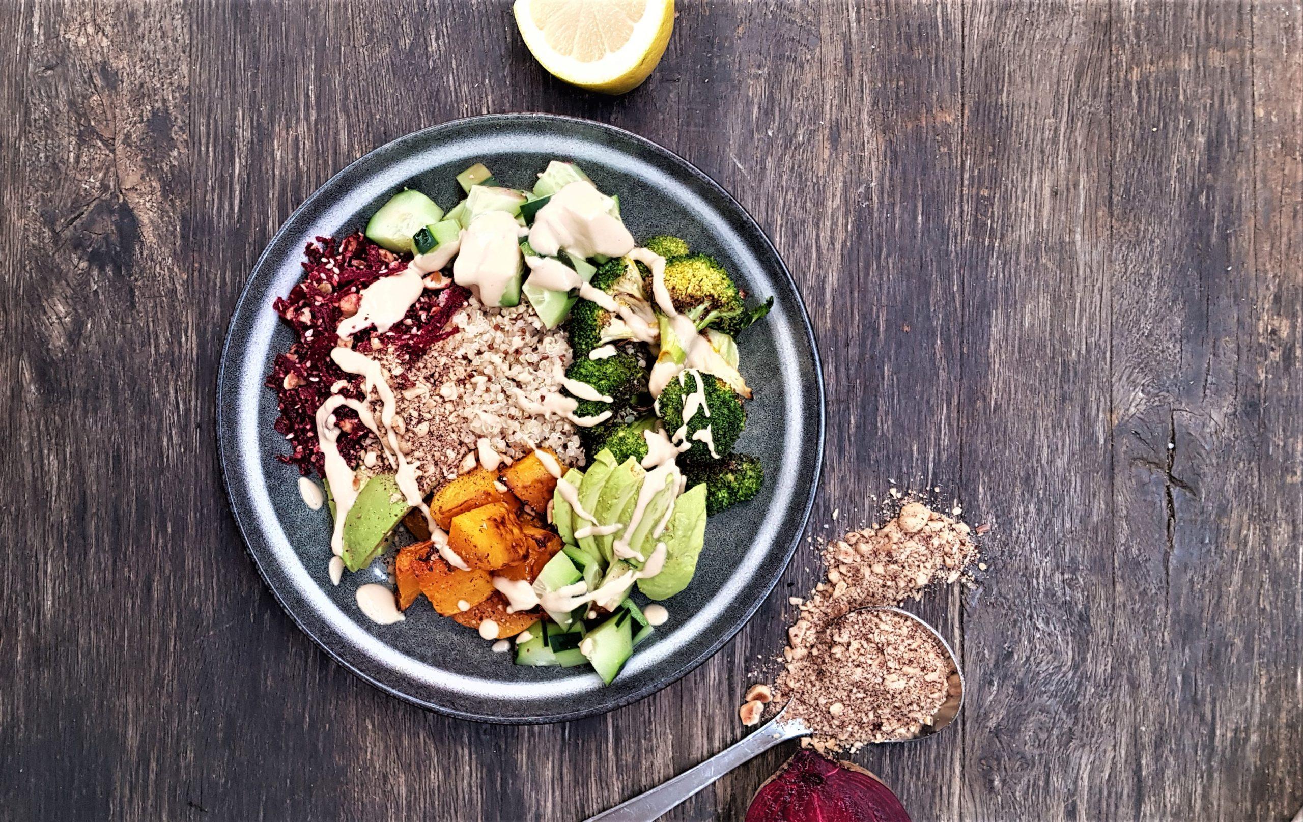 Roast pumpkin and New Zealand quinoa Buddha bowl with yoghurt tahini dressing